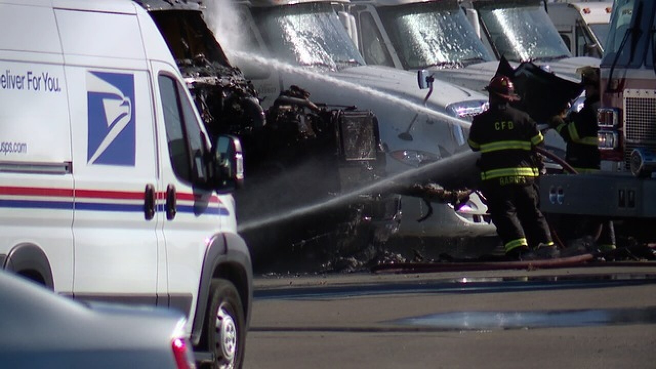 Two trucks catch fire at Orange Ave post office