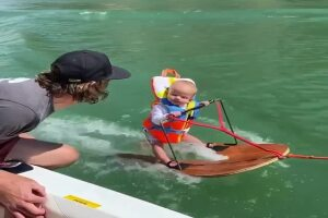 6-month-old baby water-skis at Lake Powell