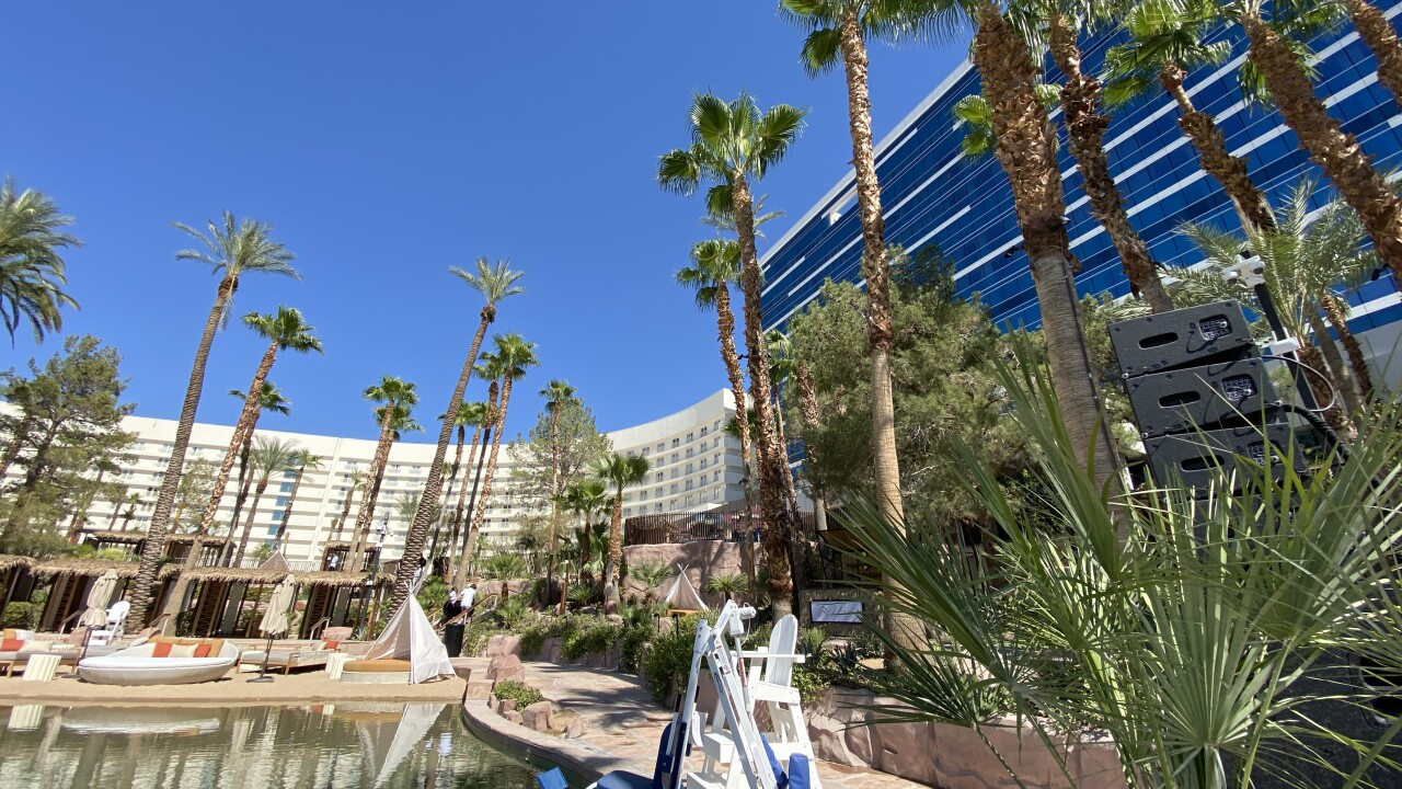 Virgin Hotels Las Vegas has gone through a multi-million dollar overhaul of the property including the pool area as seen in June 2021.