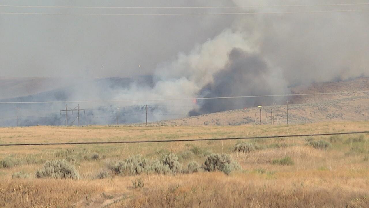 Brush fire burning near Lucky Peak