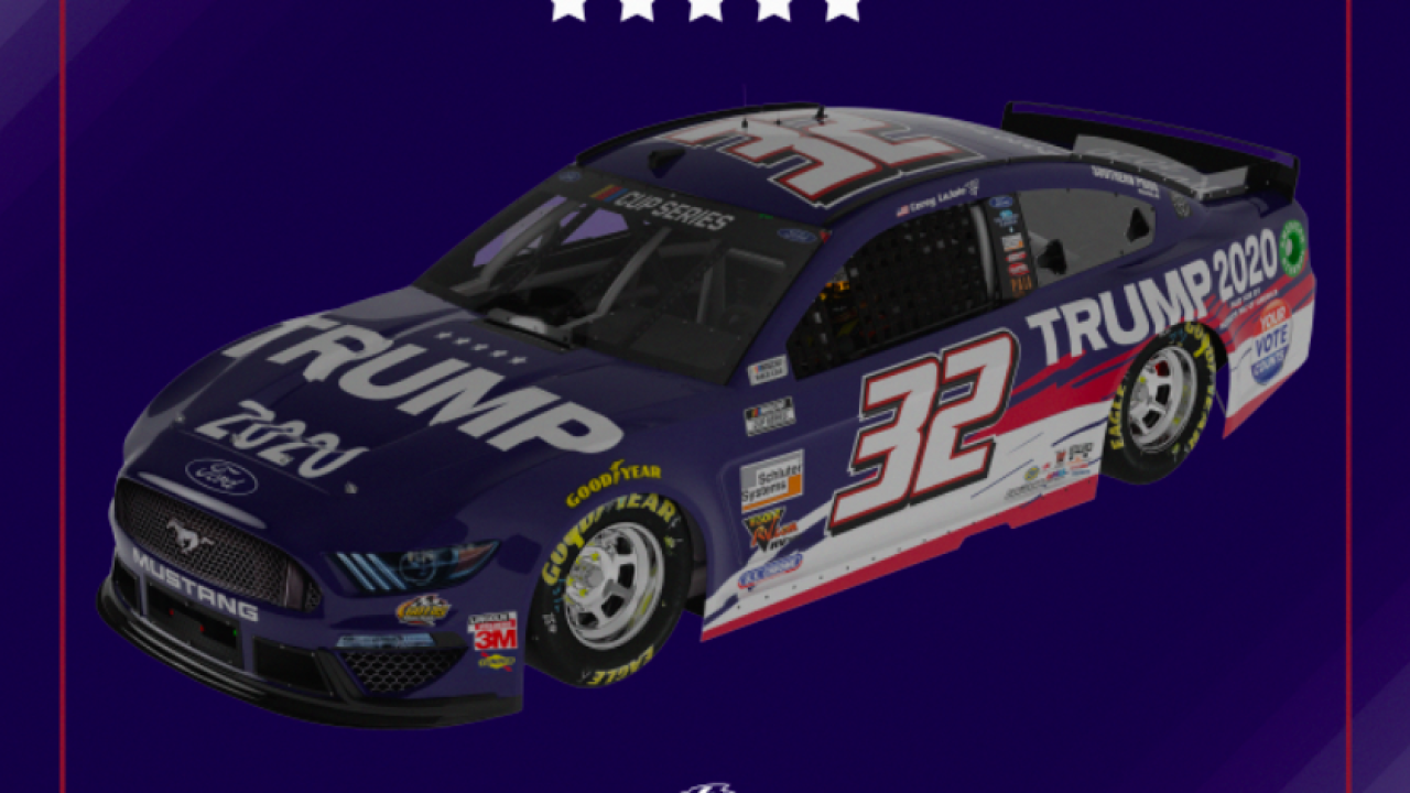 "NASCAR's Corey LaJoie's car will have ""Trump 2020"" design painted on hood"