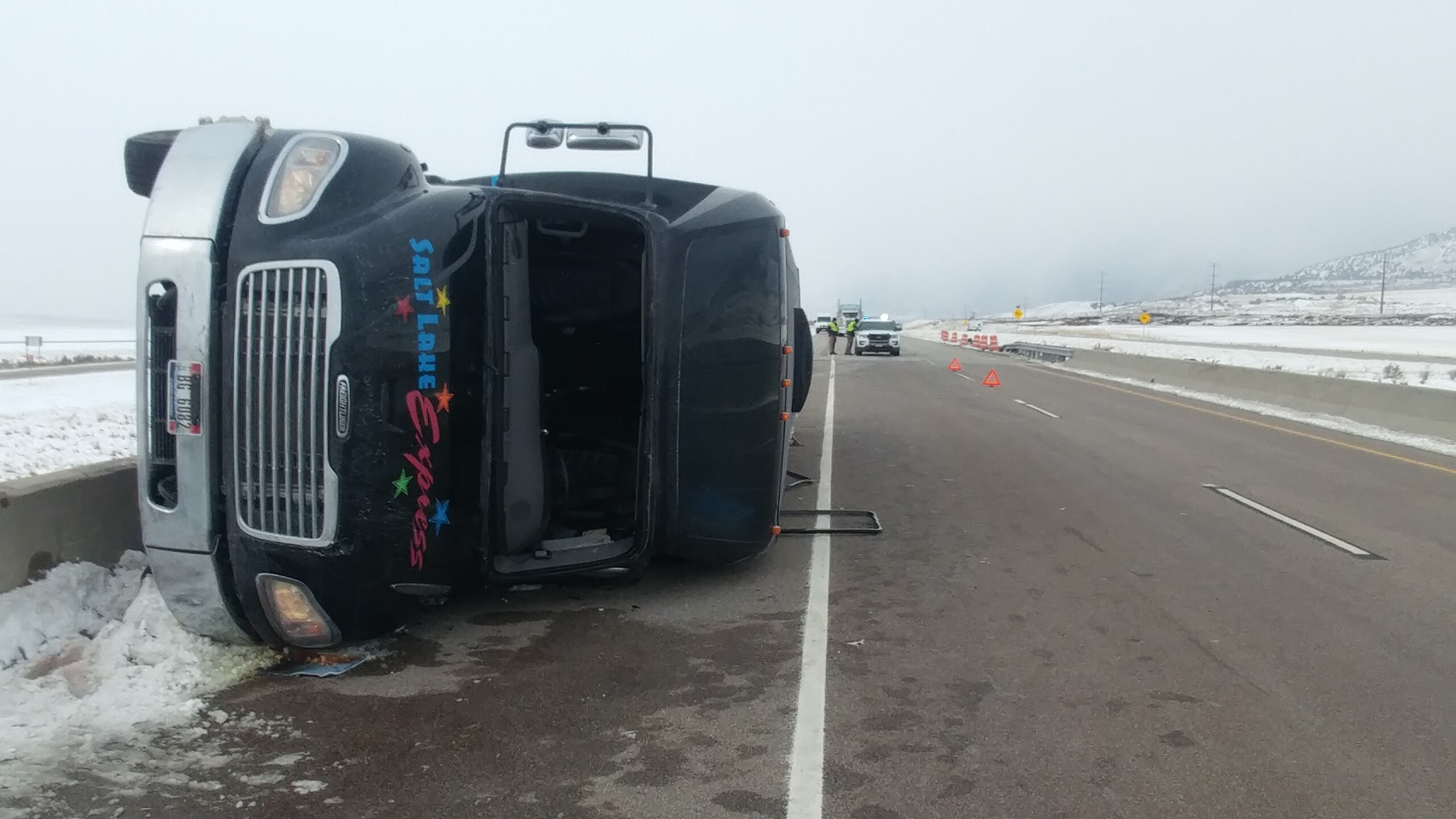 Photos: Minor injuries after shuttle bus crashes on I-15 in northern Utah