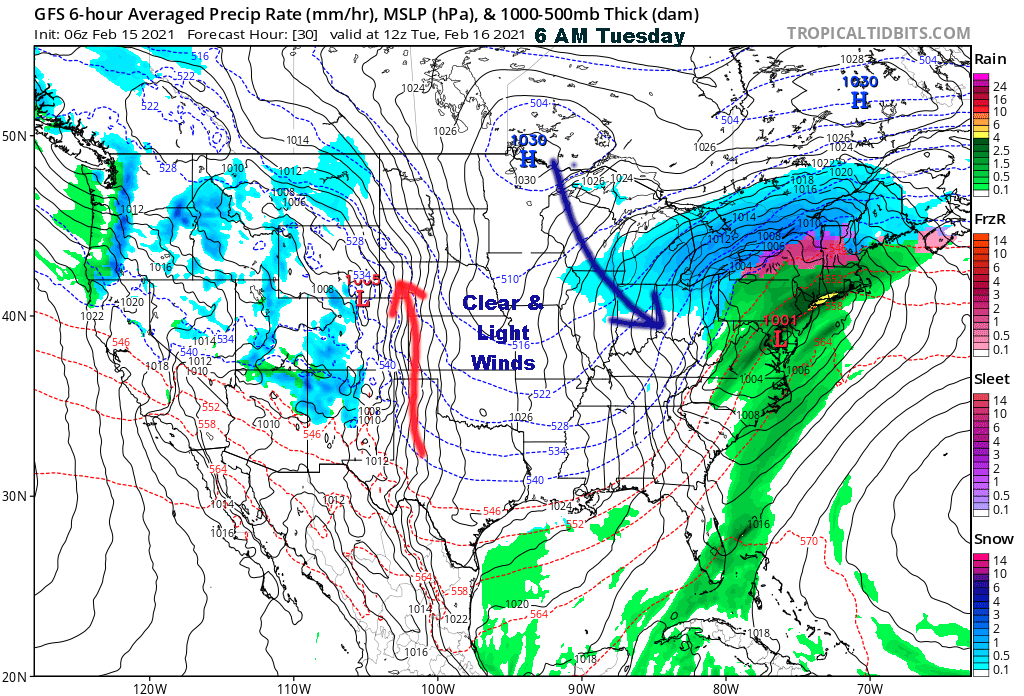 Surface Map Valid Tuesday Morning
