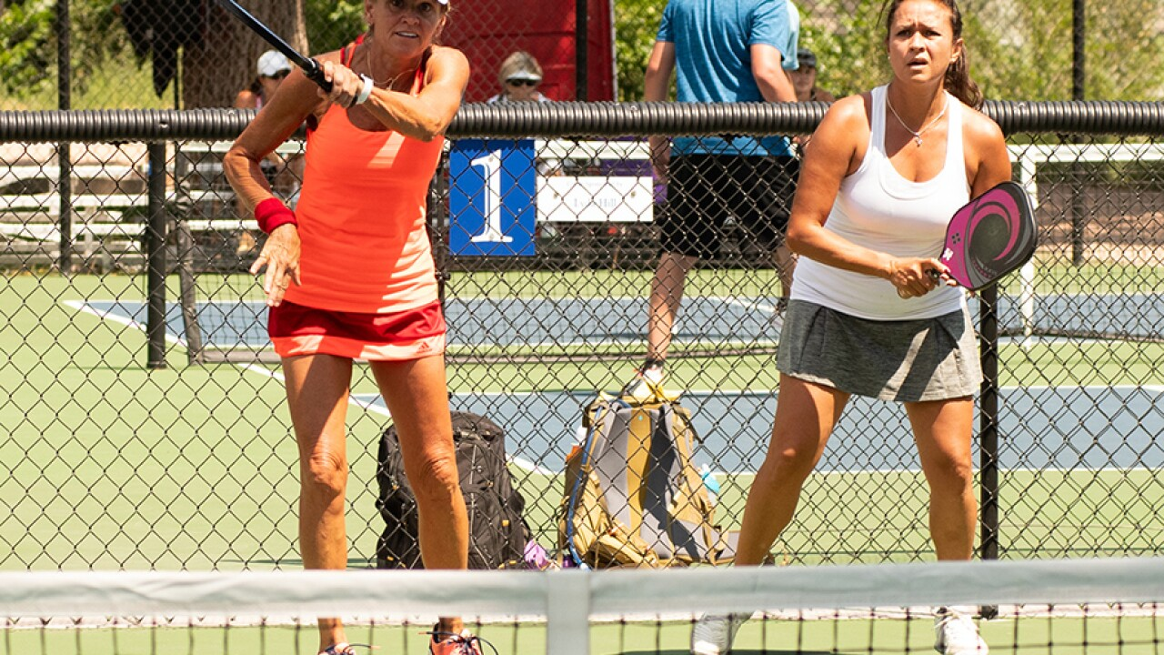 Females players playing Pickleball at the 2018 Rocky Mountain State Games