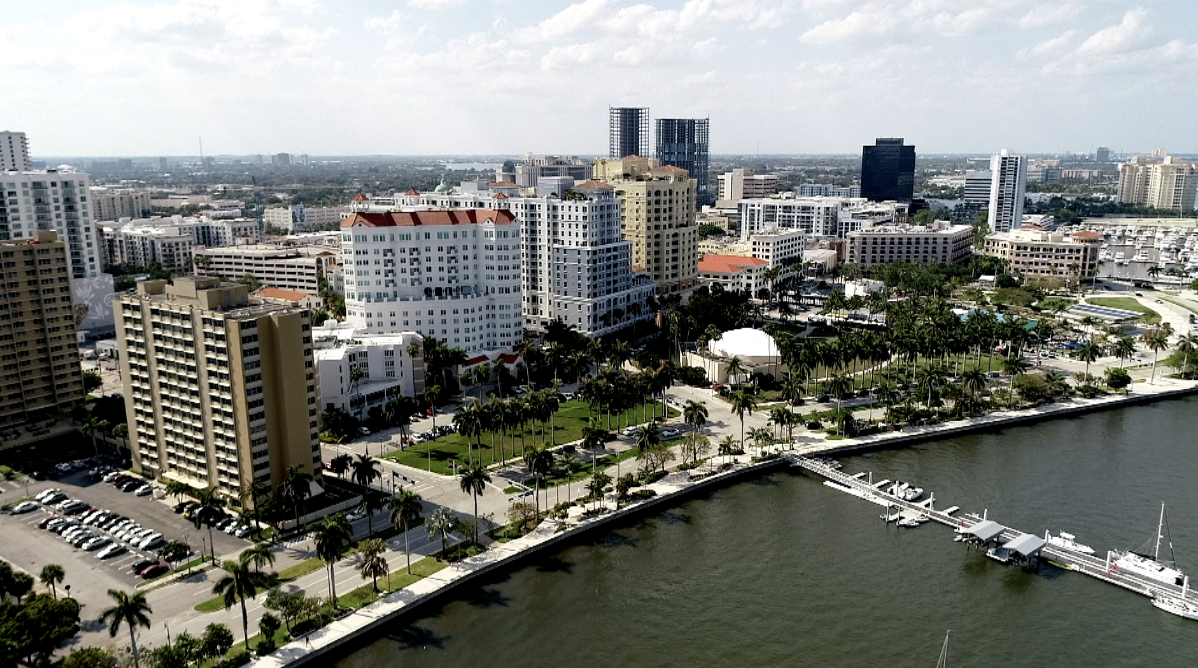 view of downtown West Palm Beach with Jeff Greene's unfinished twin towers
