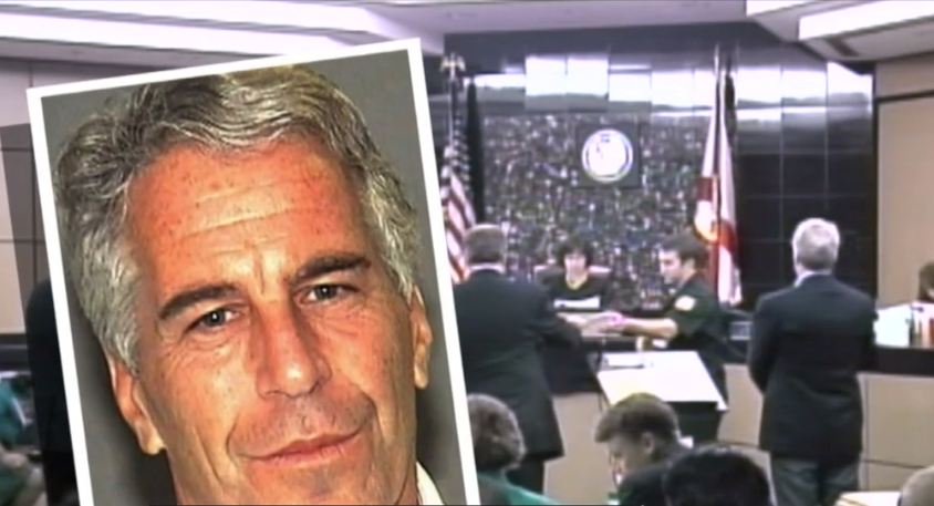 Jeffrey Epstein mug shot against backdrop of Palm Beach County courtroom