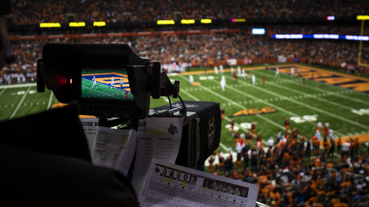 Television Camera Shooting Football Game
