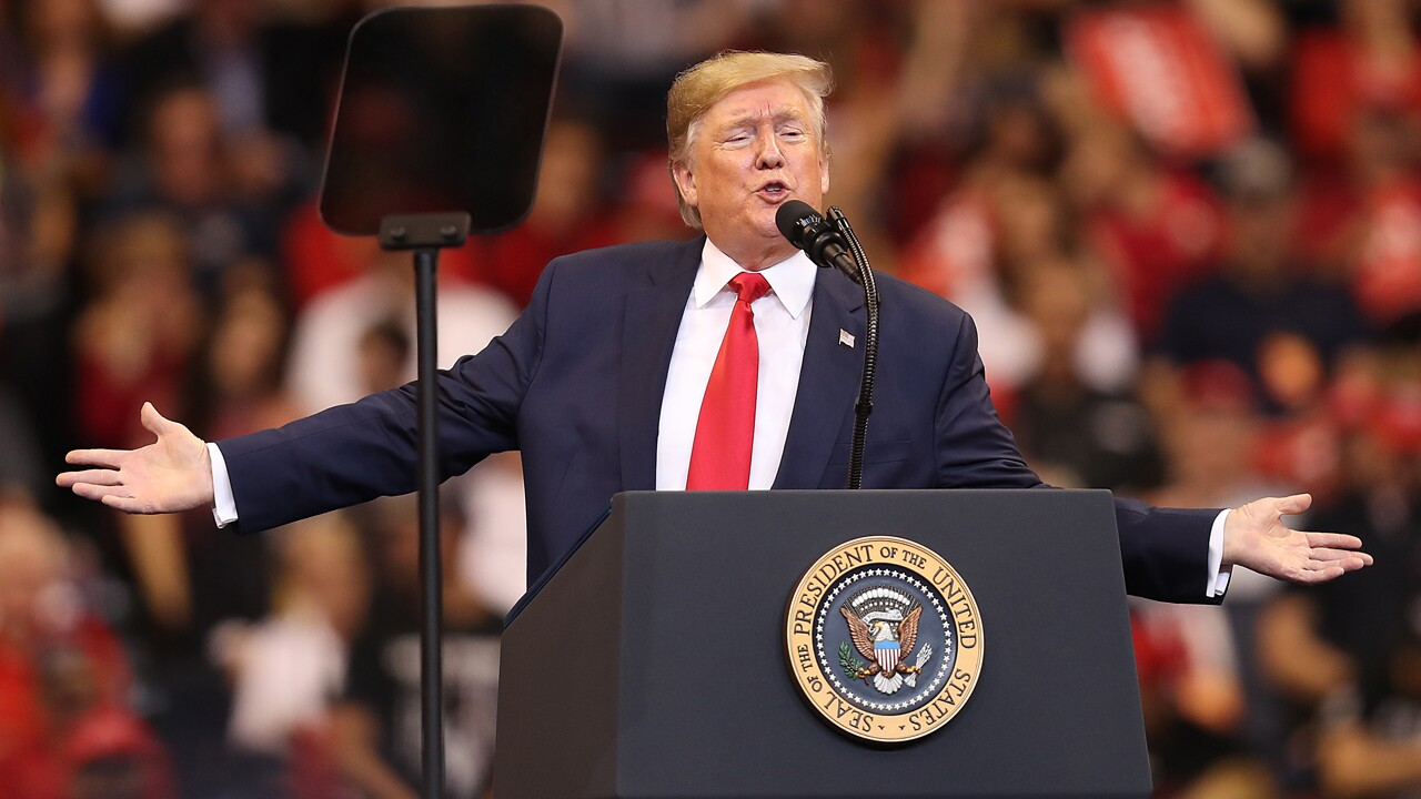 U.S. President Donald Trump speaks during a homecoming campaign rally at the BB&T Center on November 26, 2019 in Sunrise, Florida. President Trump continues to campaign for re-election in the 2020 presidential race.