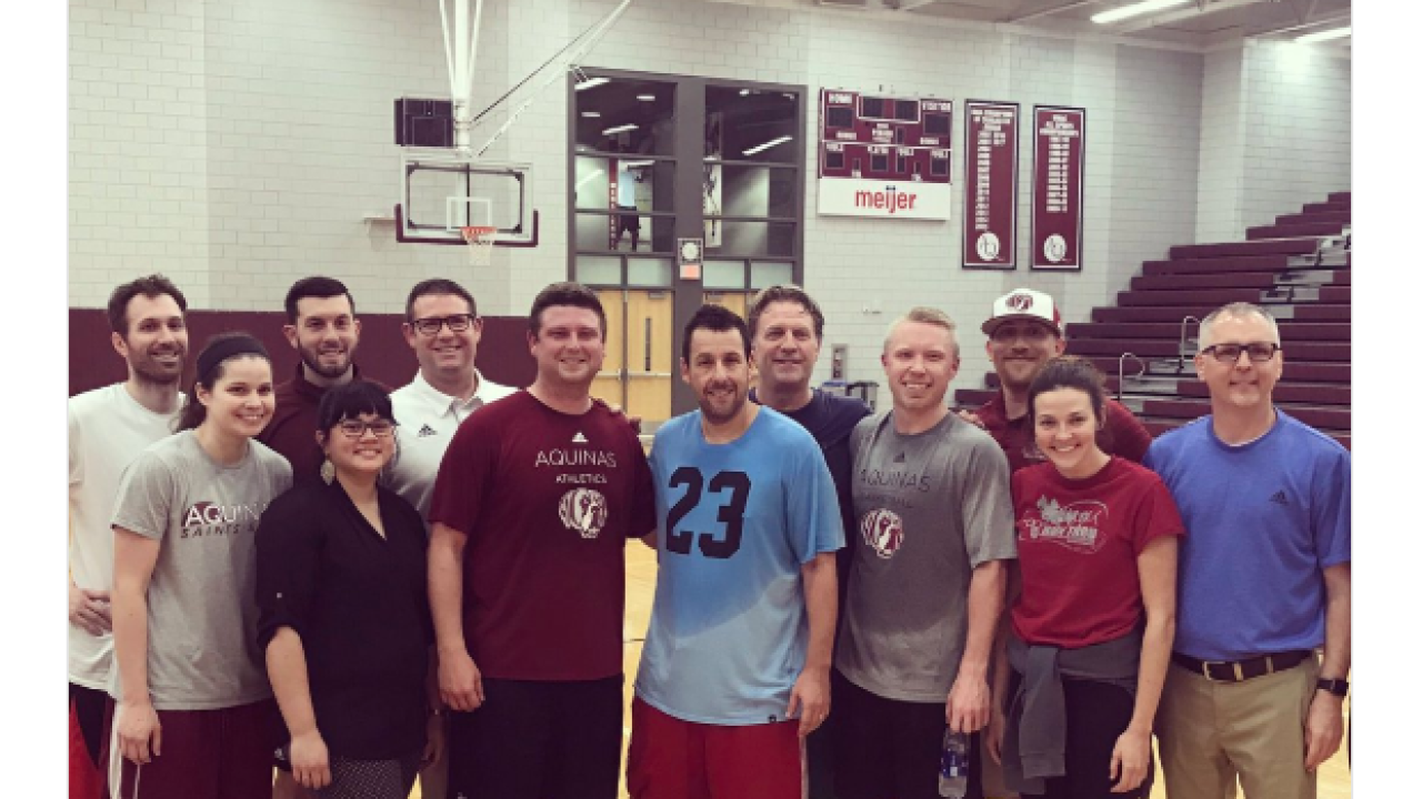 Adam Sandler spotted shooting hoops at Michigan college