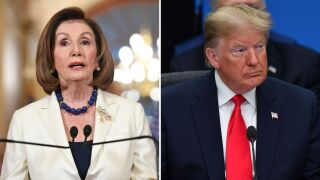 Photos of Nancy Pelosi and President Donald Trump