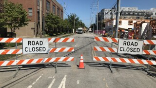 Road closed sign downtown Nashville
