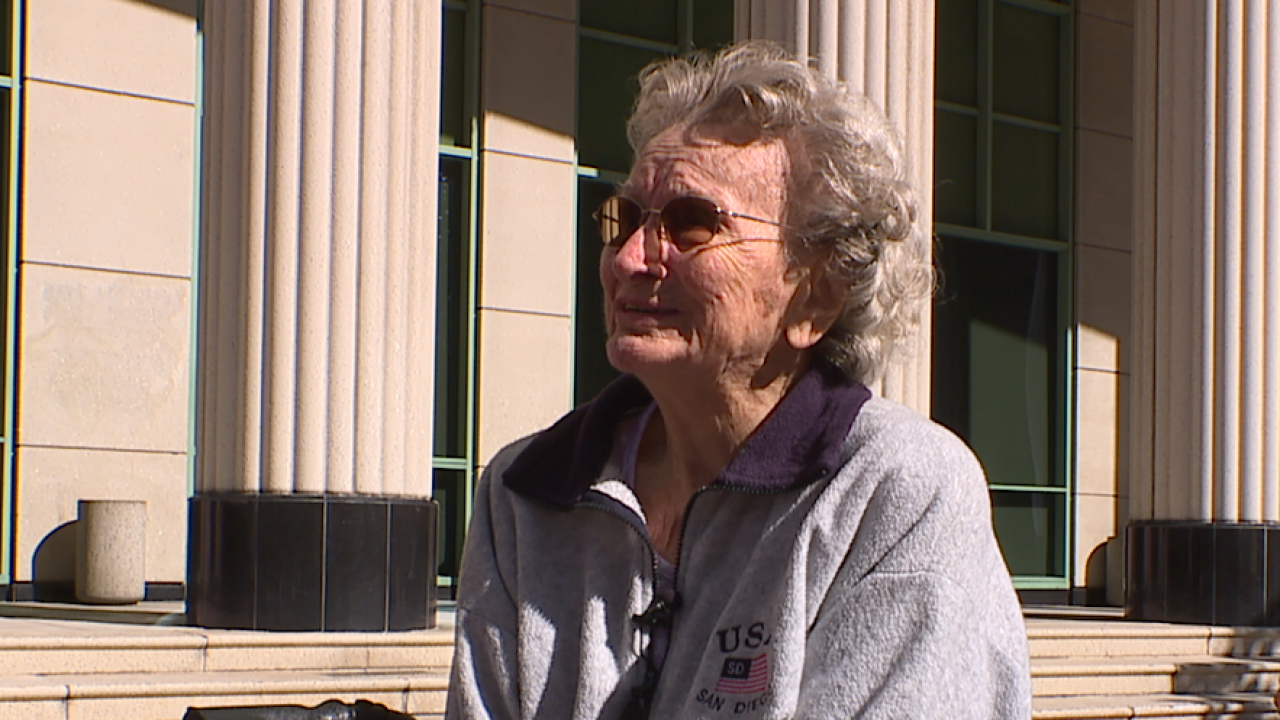 Betty Morse outside of court
