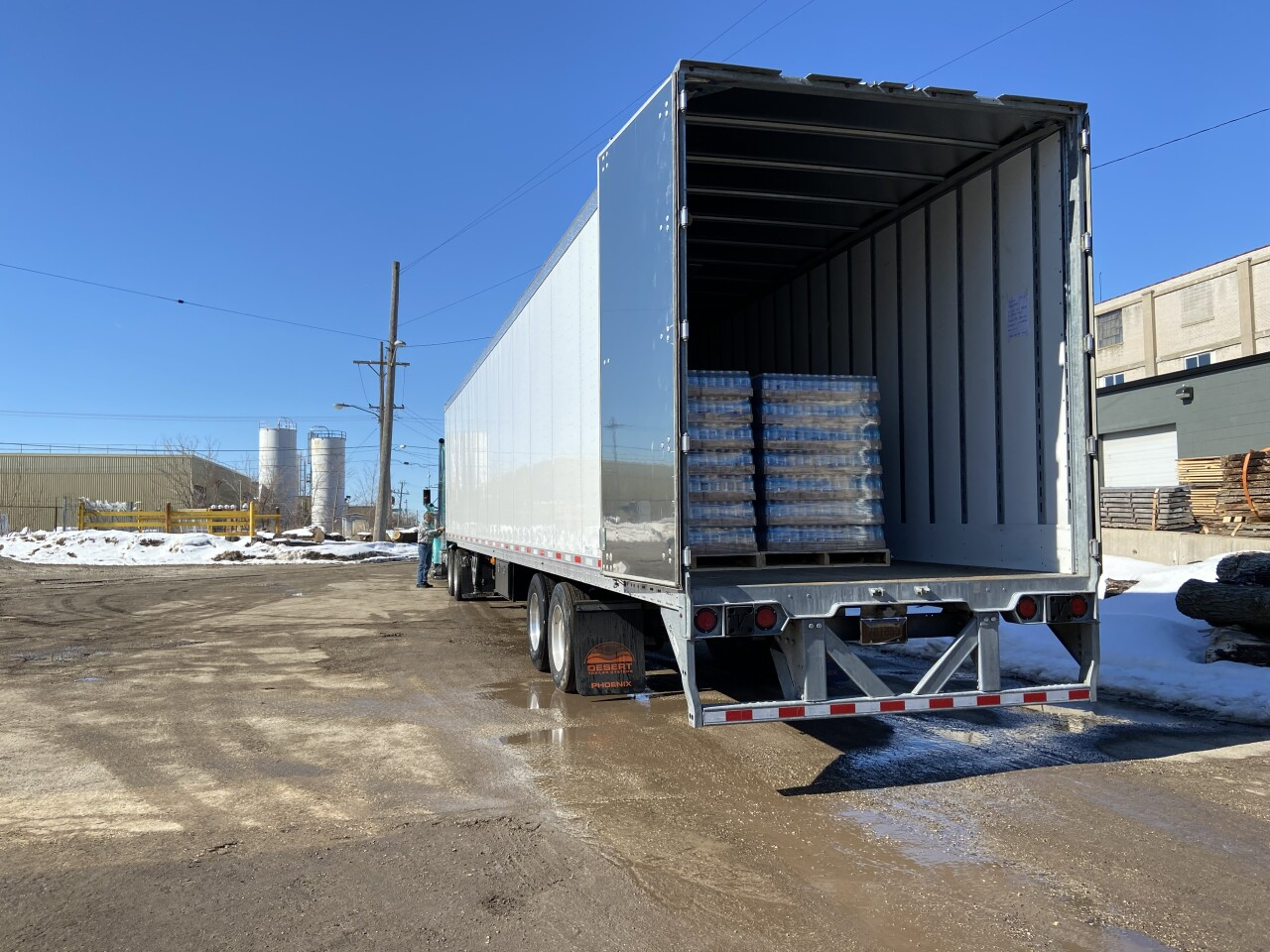 Truck filled with canned water