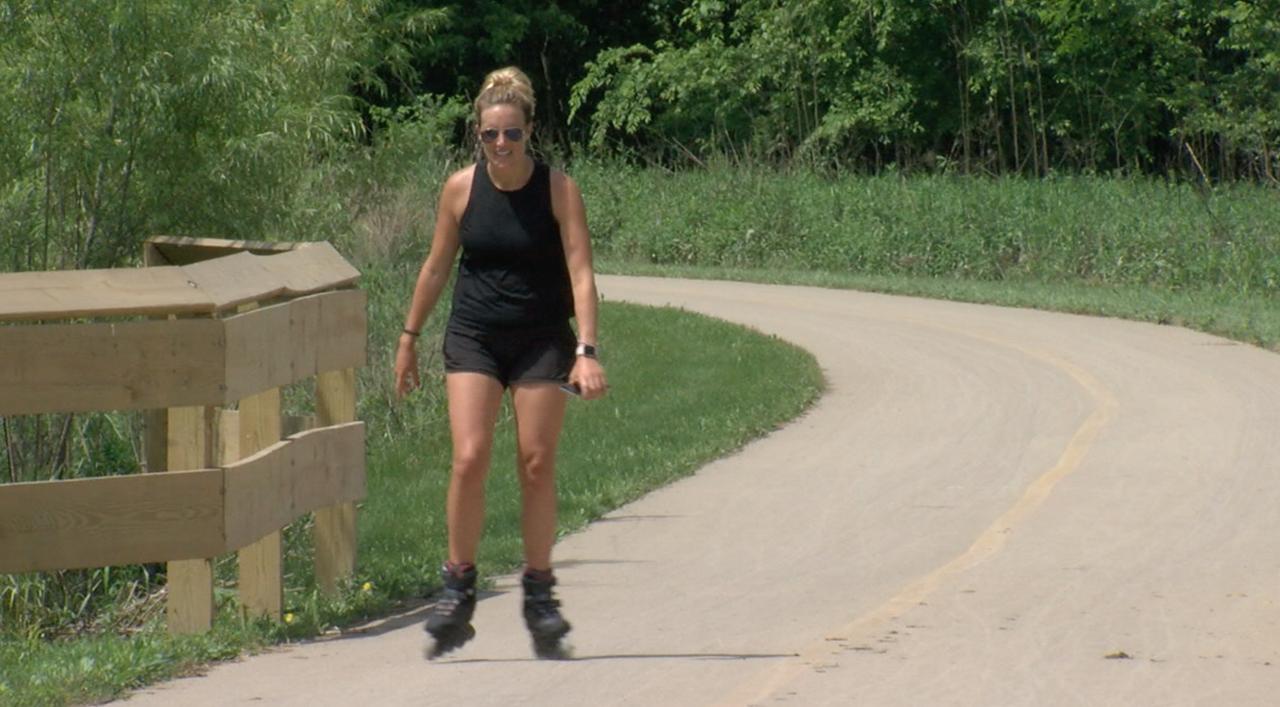 Roller blader at Otto Armleder Memorial Park in Hamilton County
