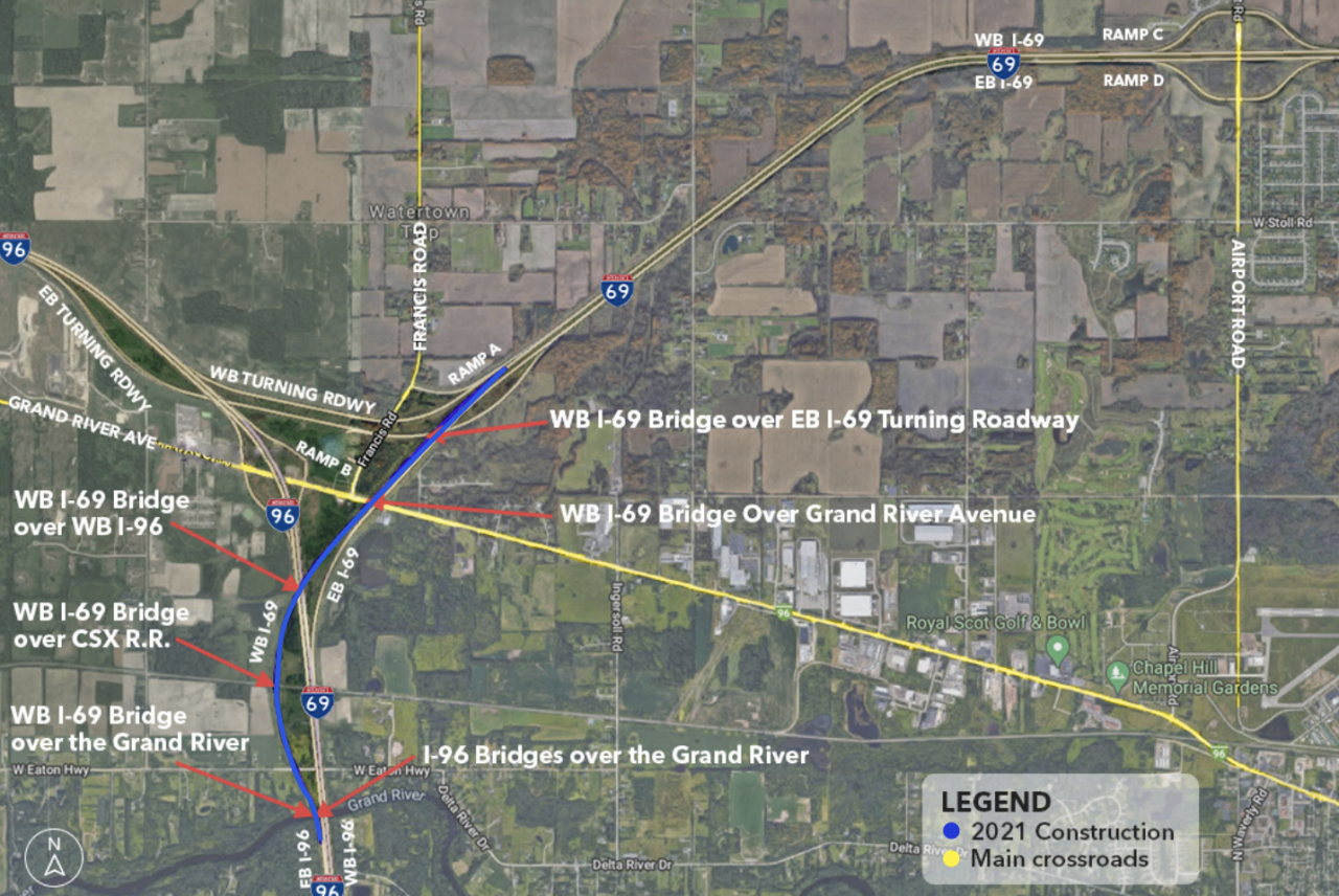 MDOT 2021 Construction of I-69 in Clinton and Eaton Counties
