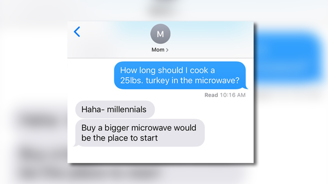 'How long do I cook a 25 lb. turkey in the microwave?' Thanksgiving text prank goes viral
