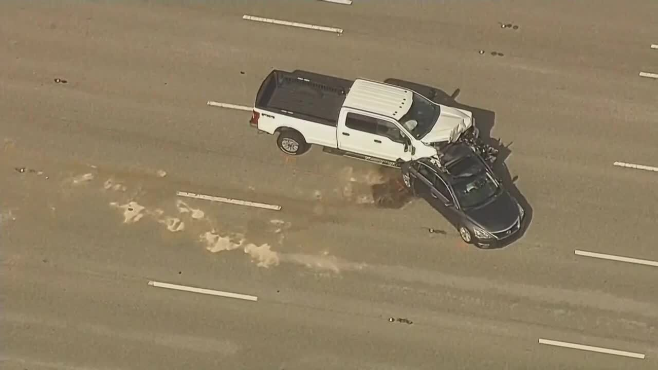 pickup truck collided into back of car in northbound lanes of I-95, July 13, 2021