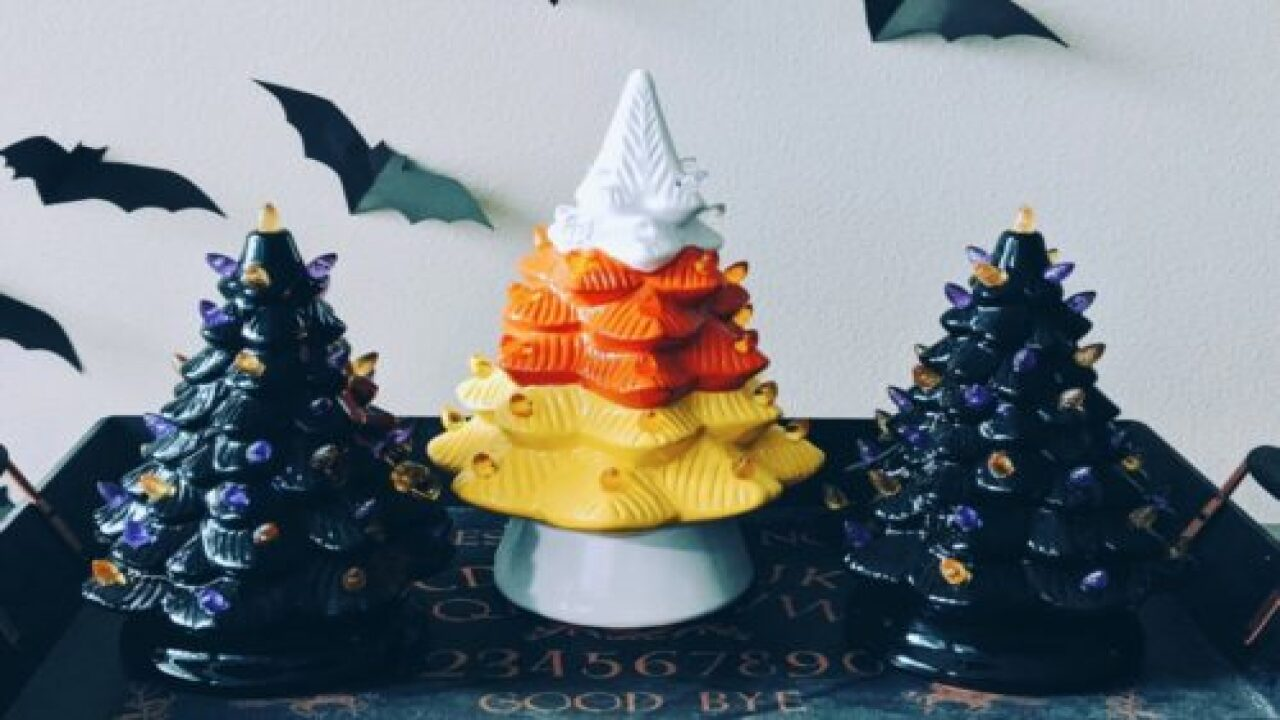 Home Goods Is Selling A Candy Corn Ceramic Tree For Halloween