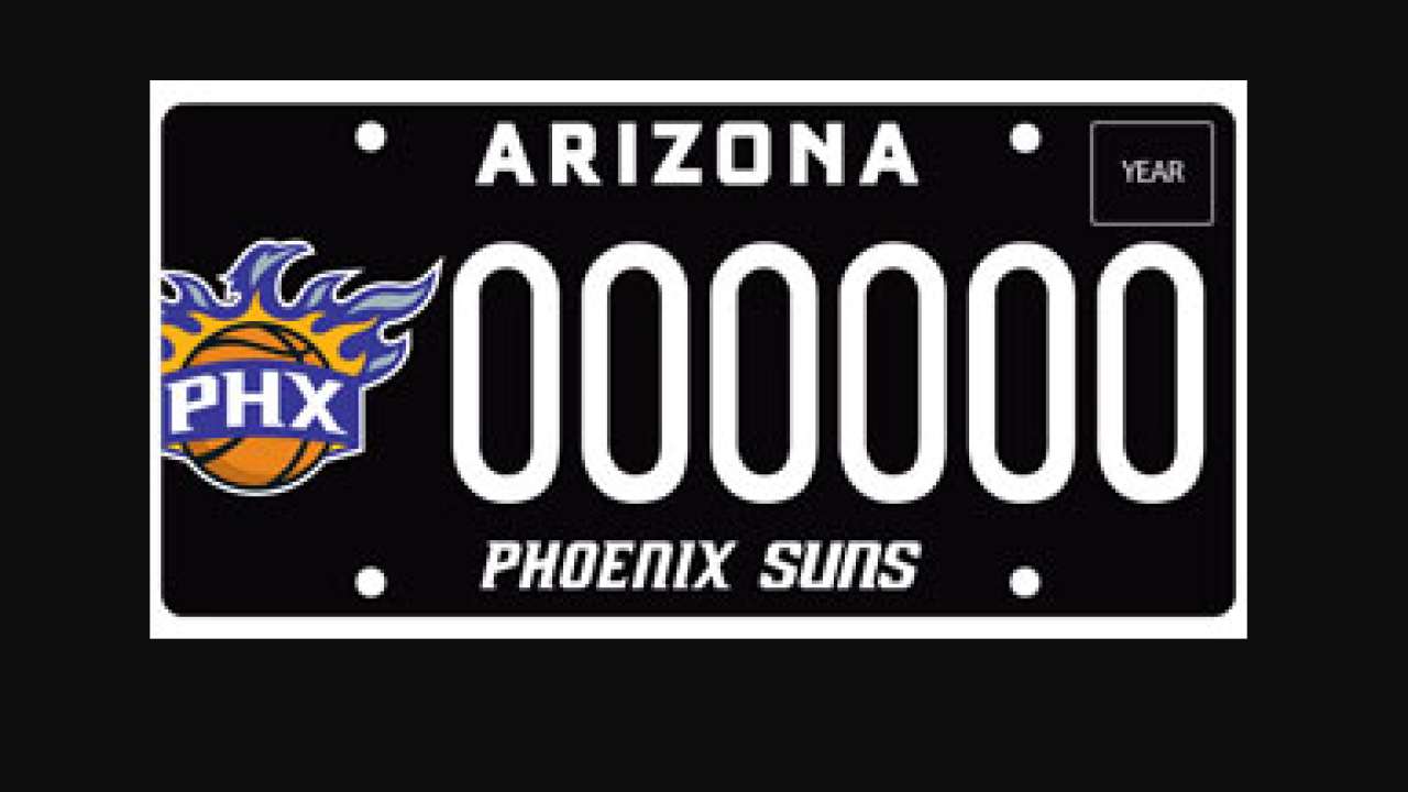 Phoenix Suns fans are shifting to license plates that reflect their team spirit. Photo via ADOT.