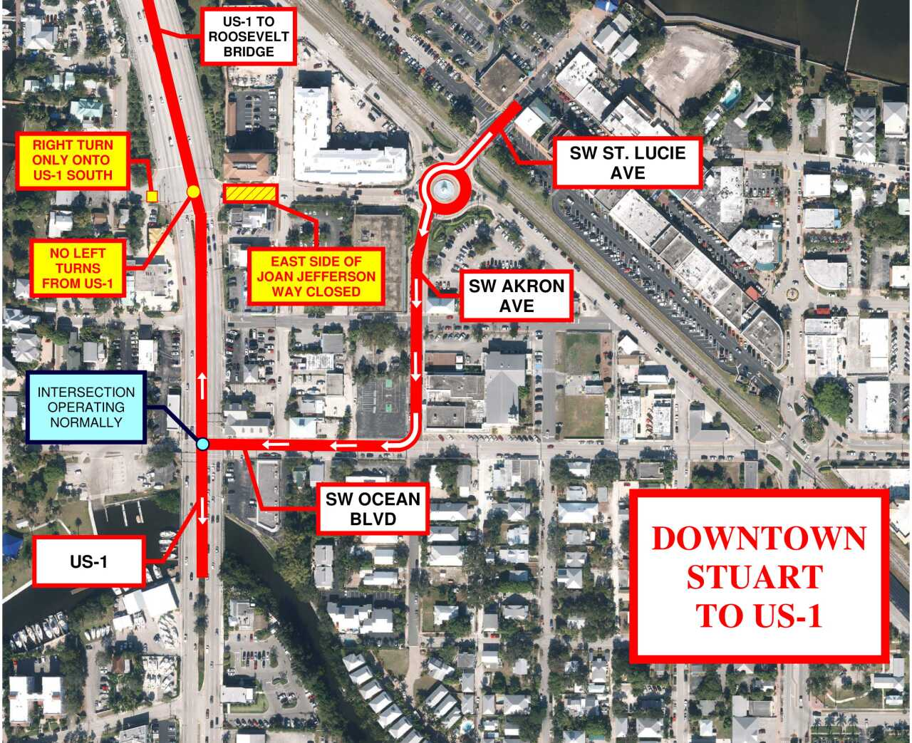 FDOT map of Roosevelt Bridge detours