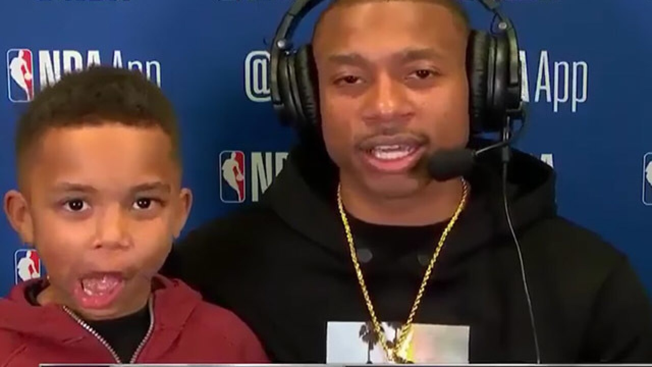 Son of Cavaliers player steals the spotlight after game, and it's adorable