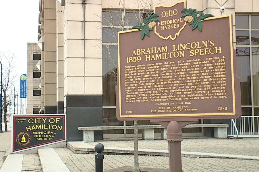 Abraham Lincoln Speech Historical marker sign