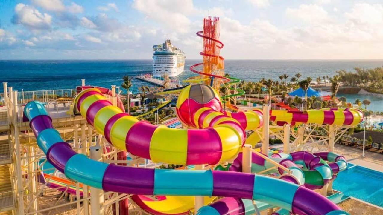 Thrill Waterpark features 13 water slides and the Caribbean's largest wave pool. The park is part of Royal Caribbean's revamped private Bahamas island called Perfect Day at CocoCay.