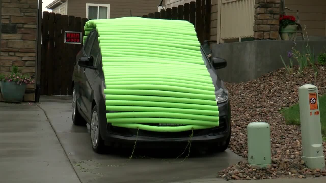 Pool noodles on car to protect from hail