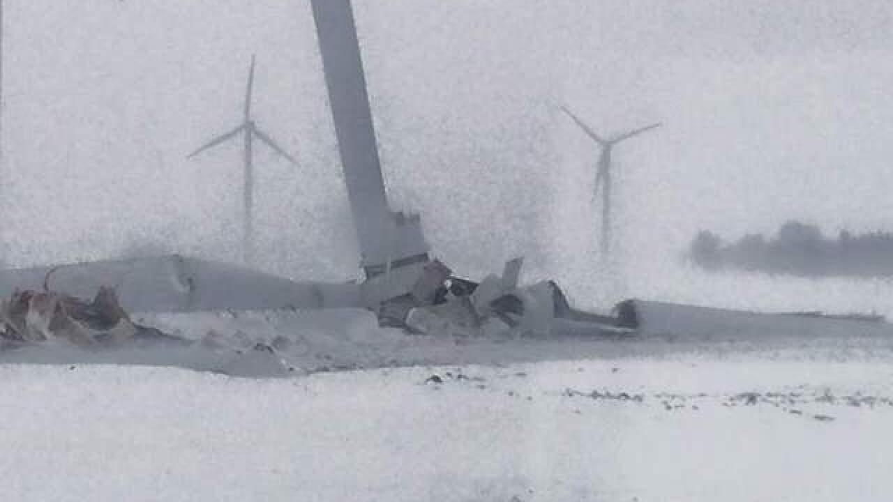 PHOTOS: Wind turbine comes down in Huron County