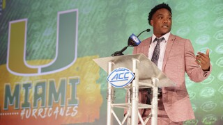 Miami Hurricanes QB D'Eriq King answers question at ACC kickoff in July 2021
