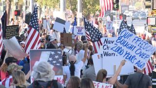 More than 1,000 people protest COVID vaccine mandates on Las Vegas strip