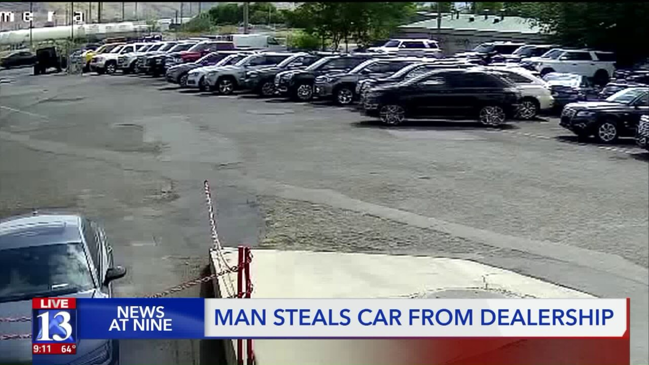 Man seen on camera casually stealing car from SLC dealership