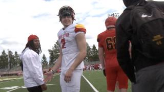 Evan Cummins smiles after a touchdown pass