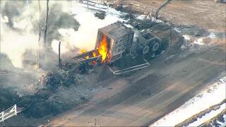 weld county semi truck crash gas explosion