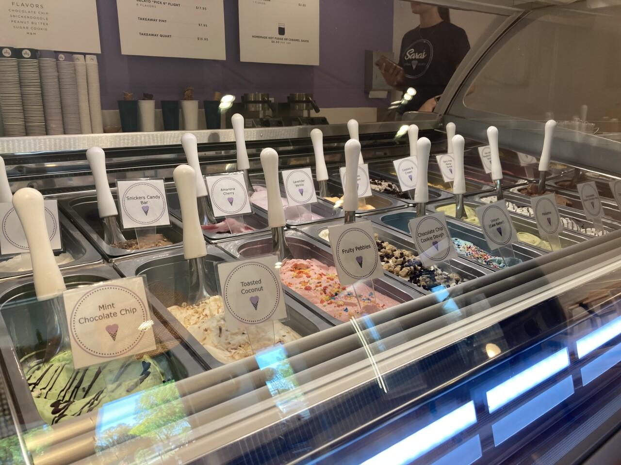 Gelato flavors at Sara's Artisan Gelato