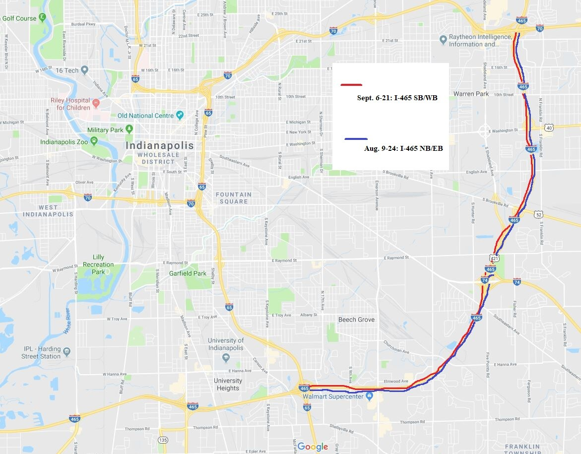 INDOT to close a portion of I-465 for 15 days — twice