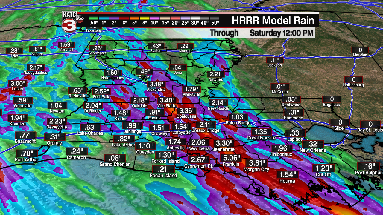 Extended HRRR Accumulation Acadiana.png
