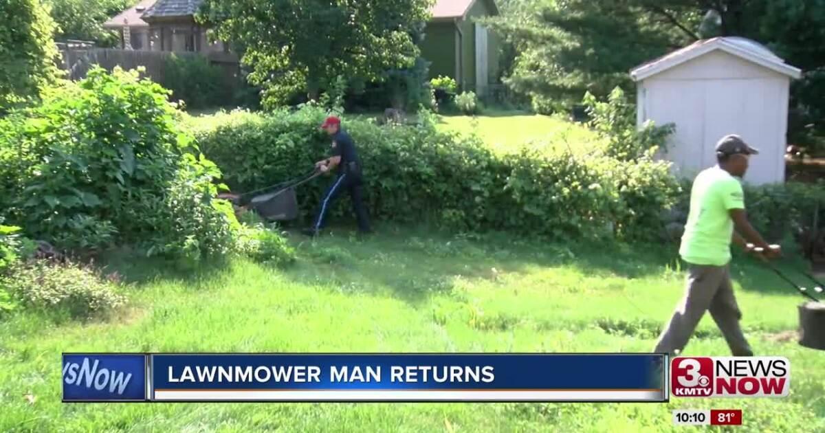 Lawnmower man returns to NE to honor veterans