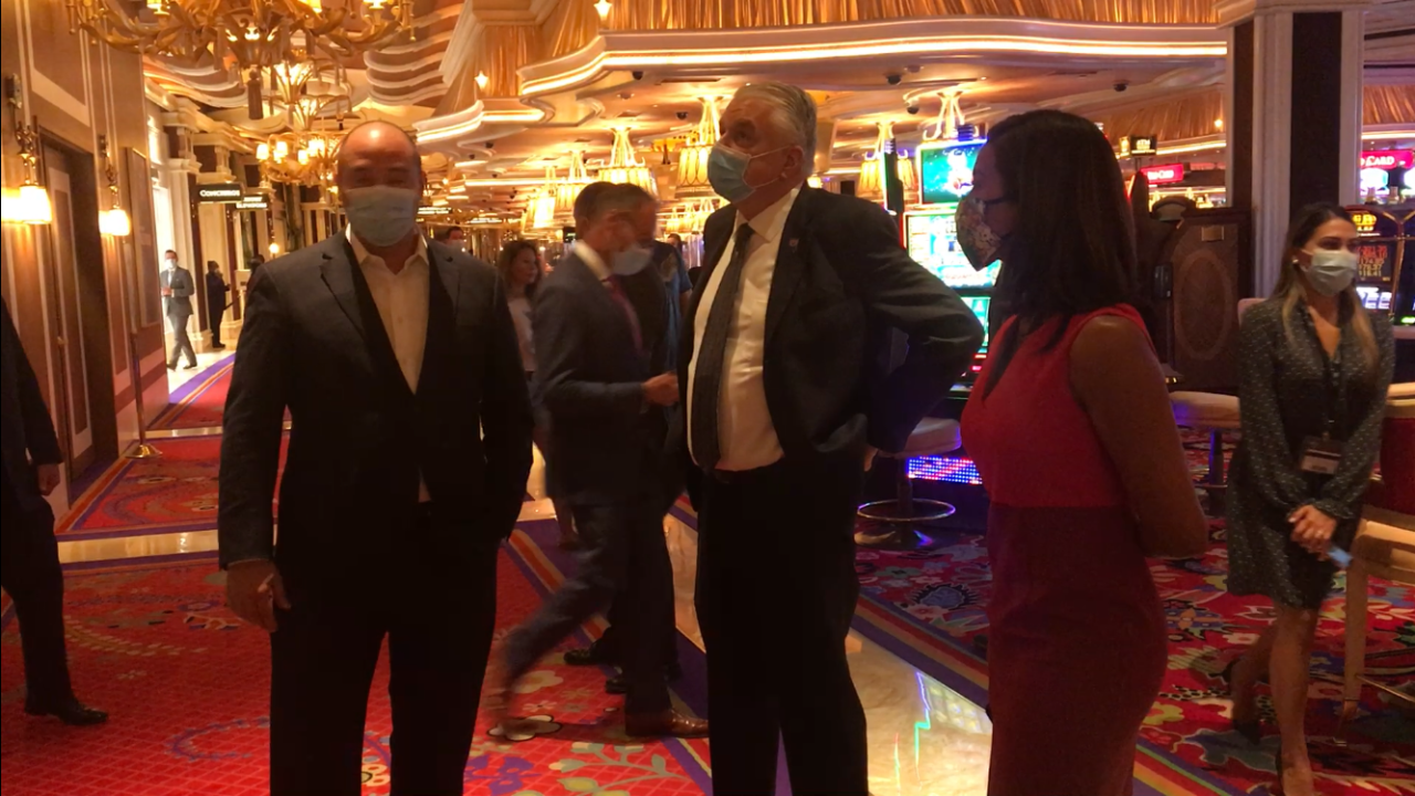 Governor Sisolak takes a tour of the Wynn after it reopened Thursday.