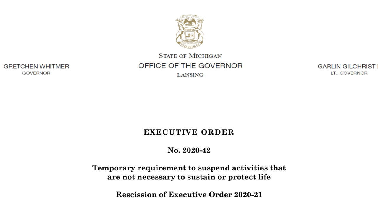Read The Entire Executive Order Extending Michigans Stay At Home