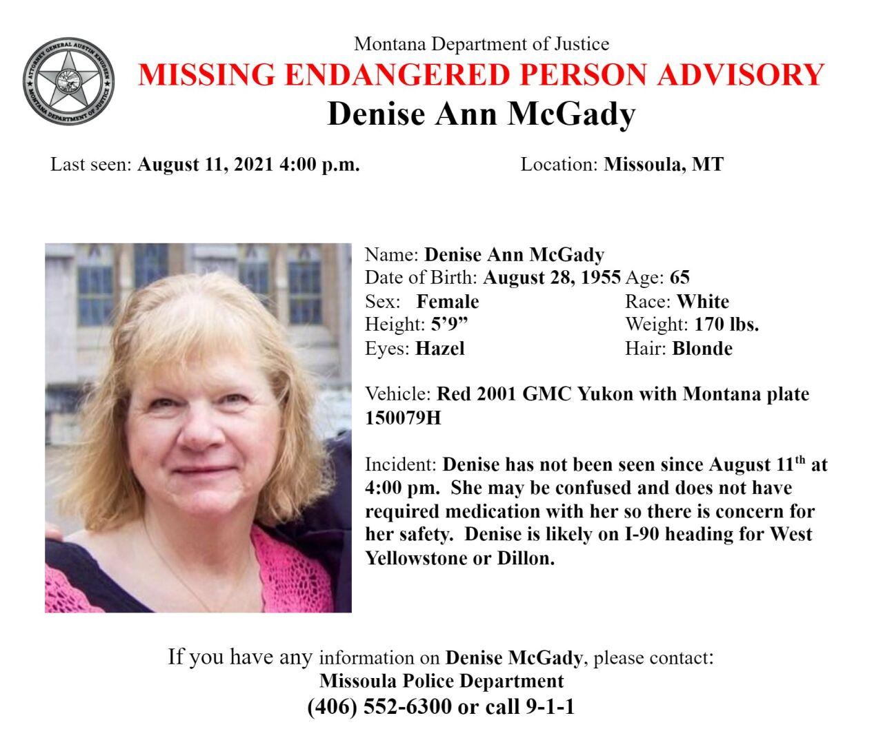 Missing-Endangered Person Advisory for Denise Ann McGady of Missoula