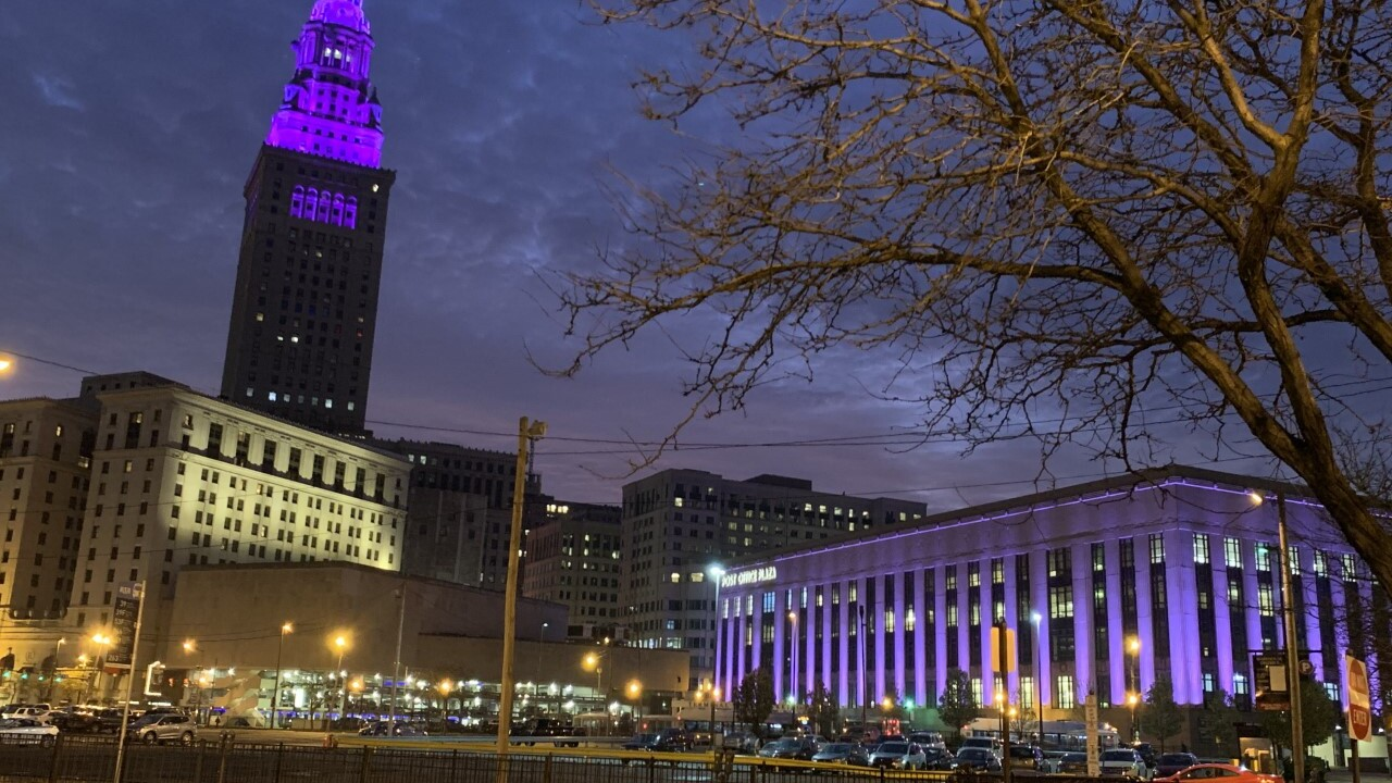 Terminal Tower goes purple on World Pancreatic Cancer Day.