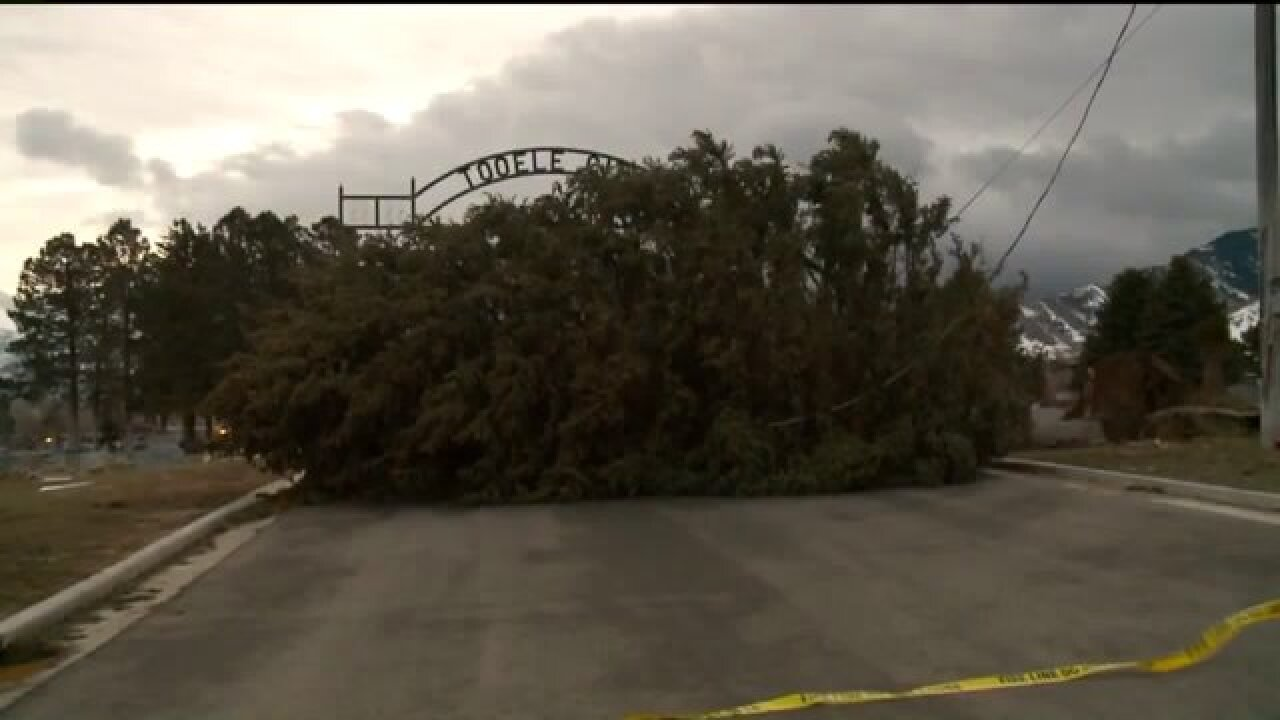 Tooele City says cleanup following strong winds and snow may take up to aweek
