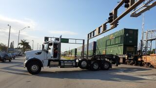 Truck collides with train in Vero Beach.