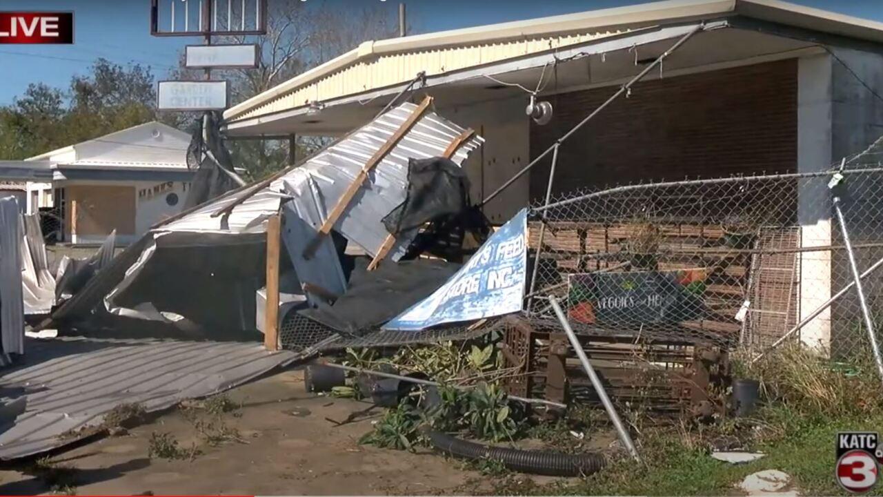 Delta damage of Landrys Feed Store in Crowley.JPG