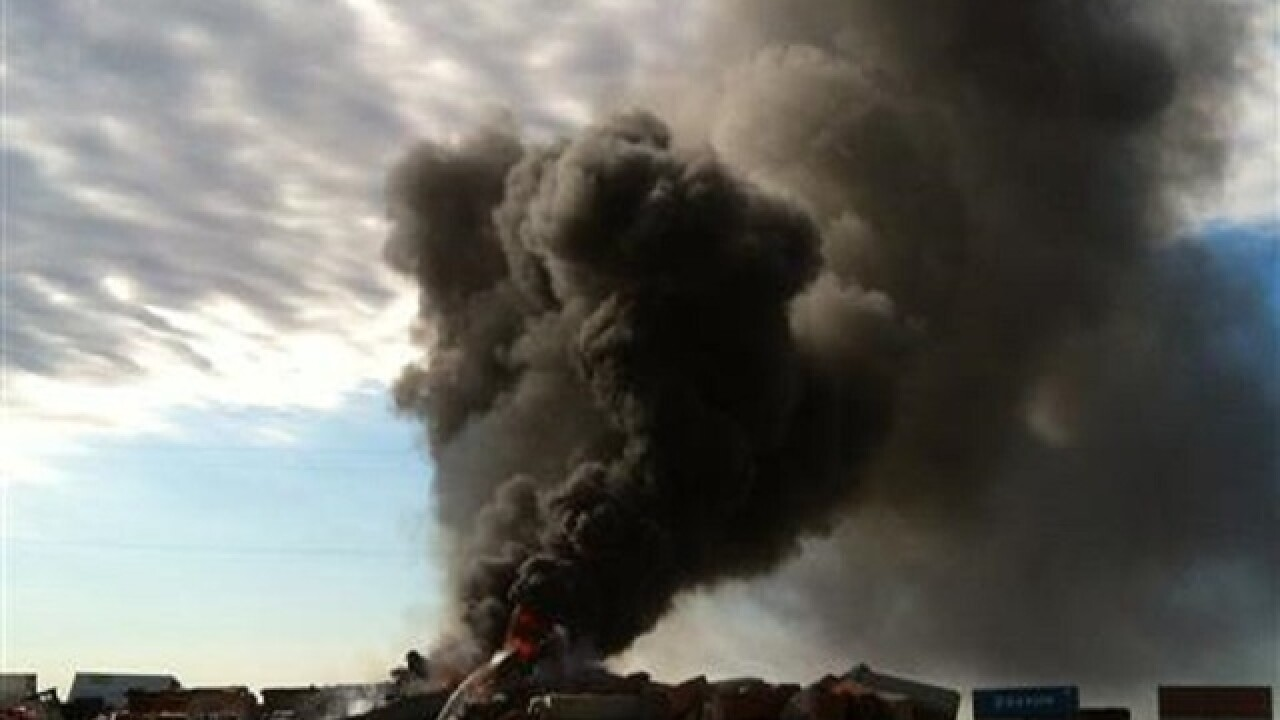 Crews fighting blaze at train collision site with 3 missing