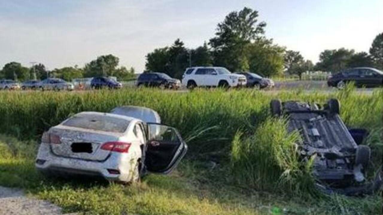 Multi vehicle roll-over crash injures children
