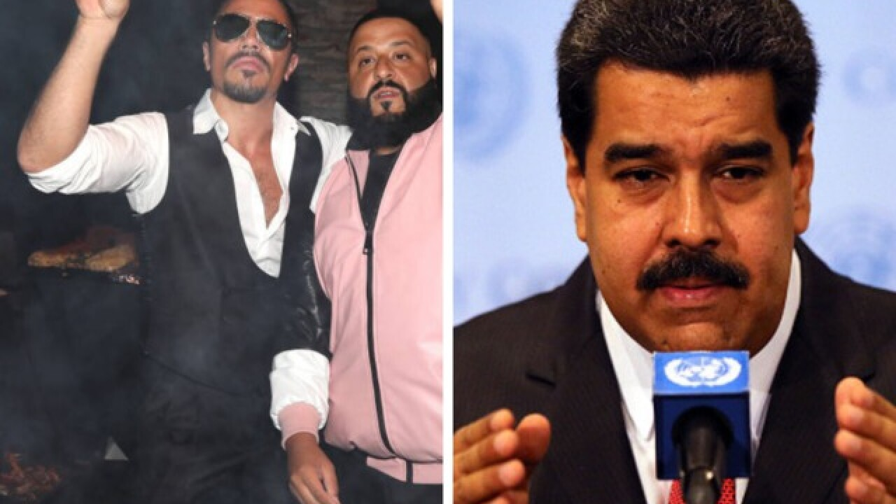 Venezuela president slammed for dining on pricey 'Salt Bae' steaks as constituents starve