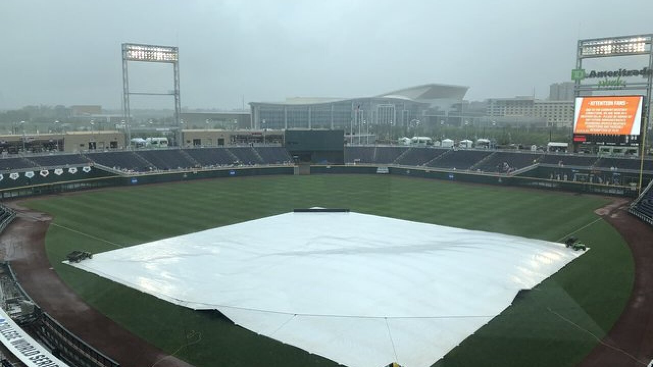 College World Series: Texas Tech vs. Arkansas in rain delay until further notice