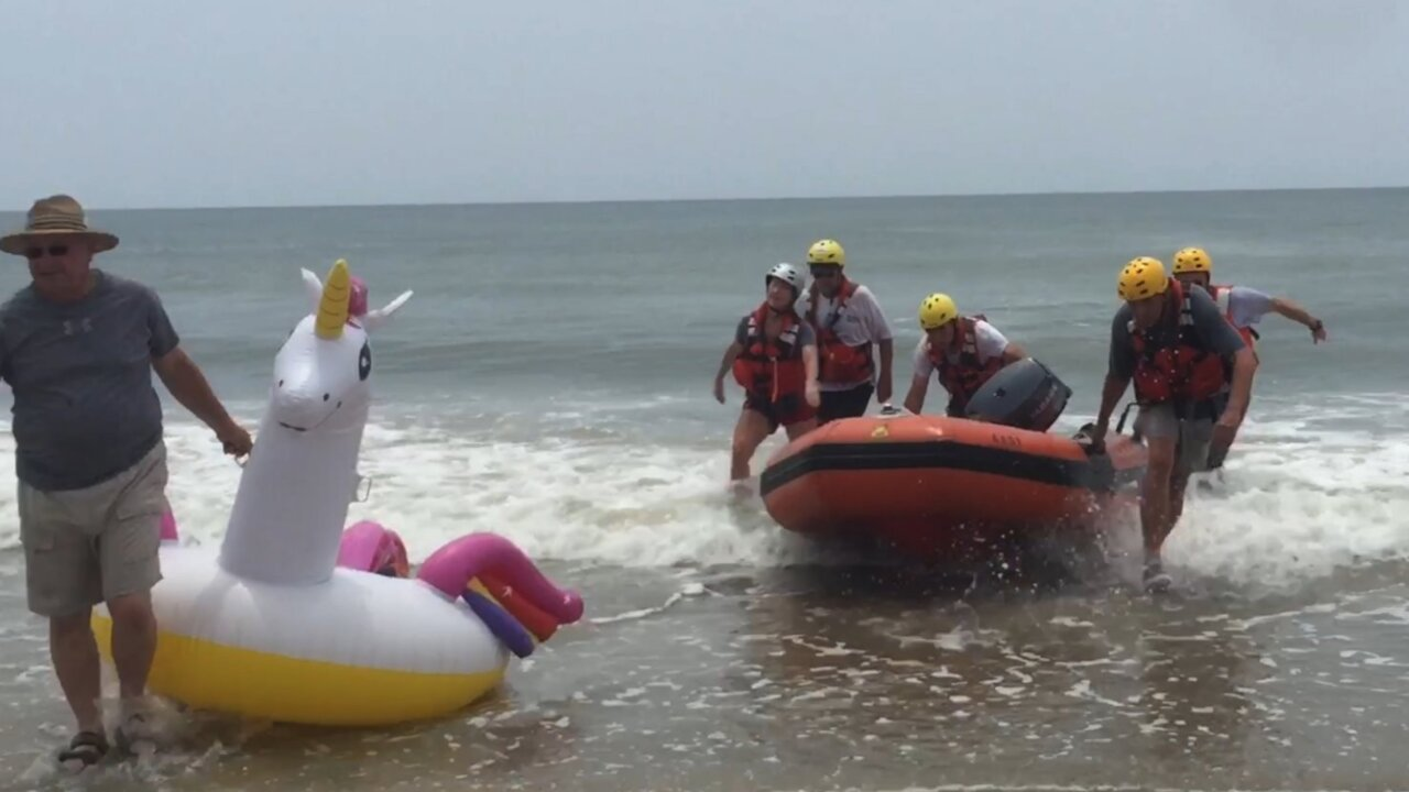 A boy on a unicorn float drifted half a mile out to sea in North Carolina